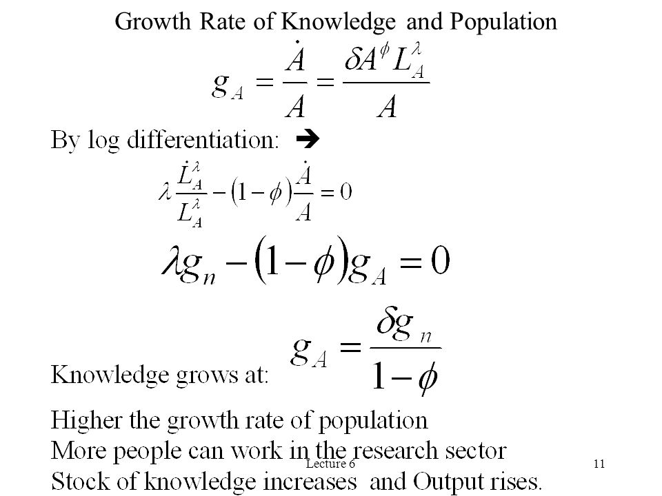 Growth Rate of Knowledge and Population
