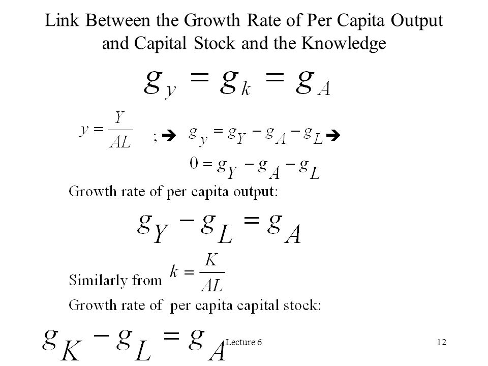 Link Between the Growth Rate of Per Capita Output and Capital Stock and the Knowledge