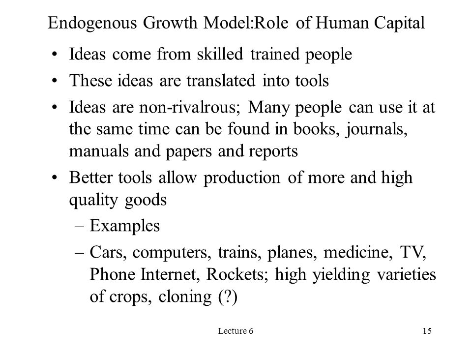 Endogenous Growth Model:Role of Human Capital
