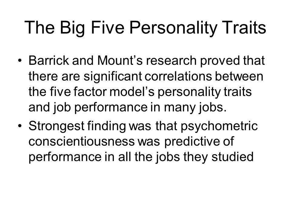 the five personality traits pdf