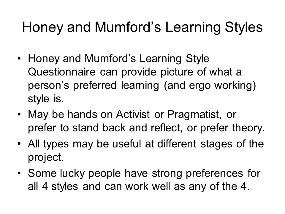 mumford learning styles