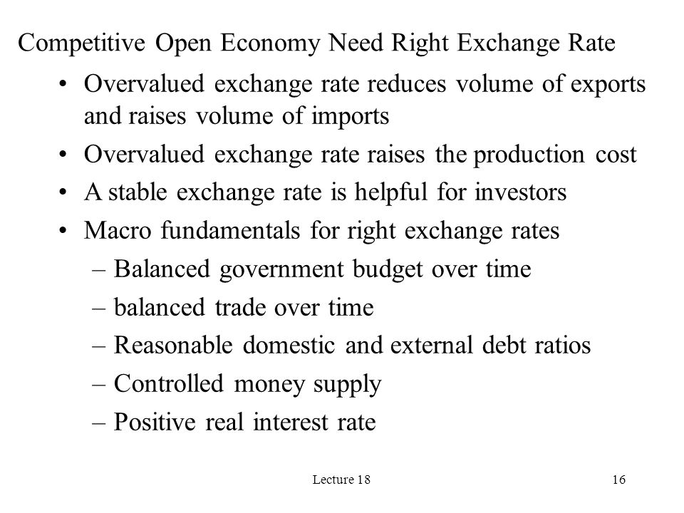 Competitive Open Economy Need Right Exchange Rate