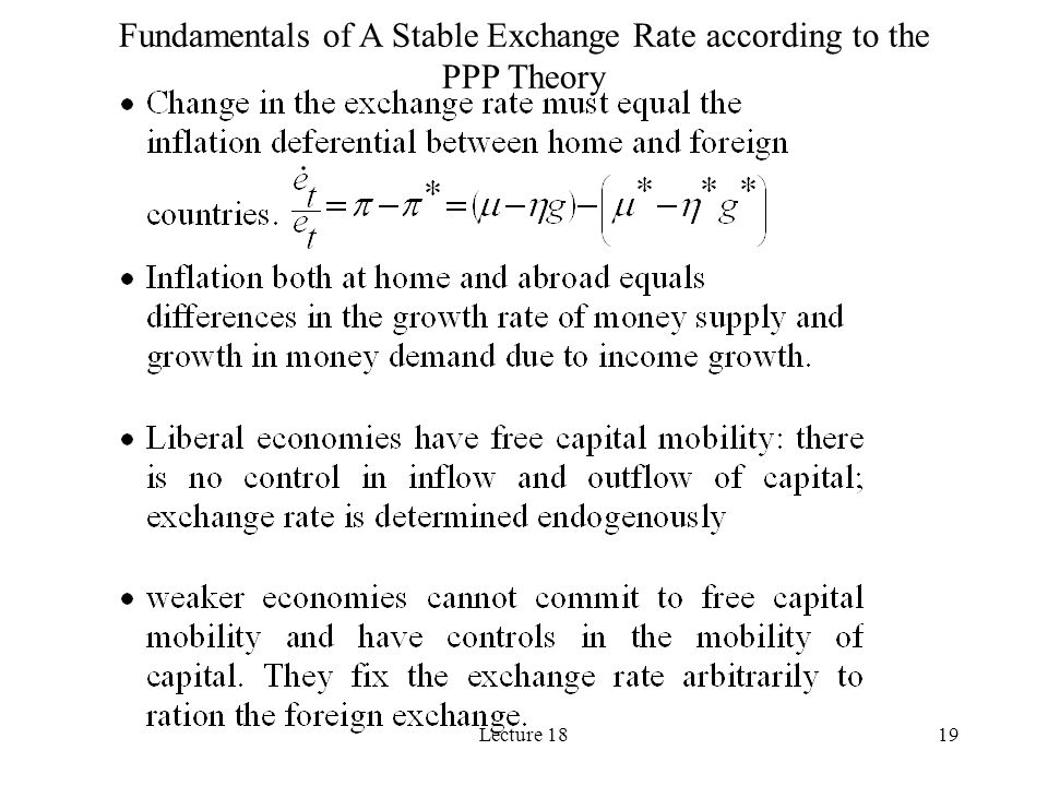 Fundamentals of A Stable Exchange Rate according to the PPP Theory