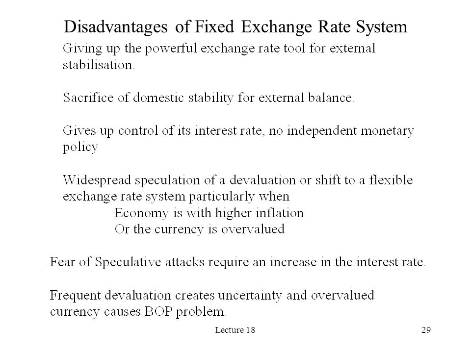 Disadvantages of Fixed Exchange Rate System