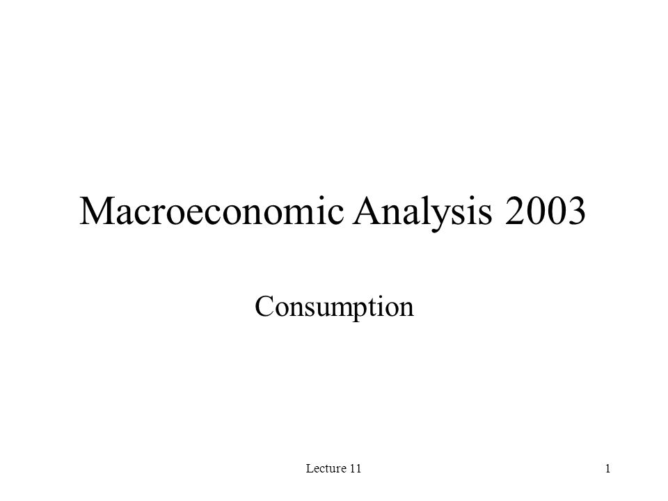 Macroeconomic Analysis 2003