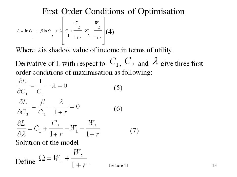 First Order Conditions of Optimisation