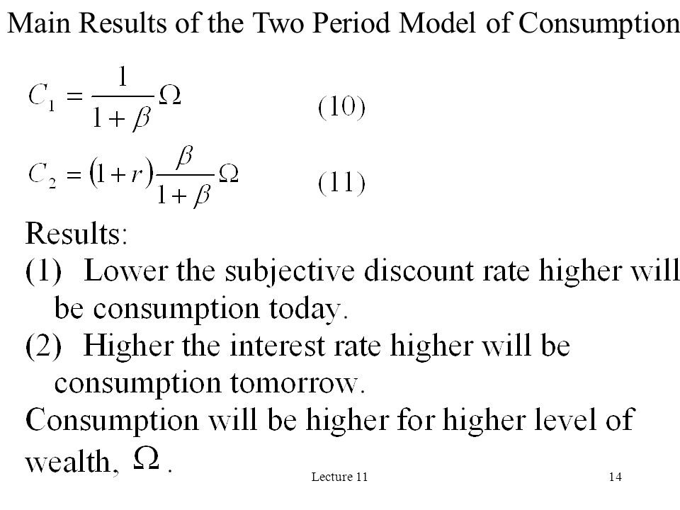 Main Results of the Two Period Model of Consumption