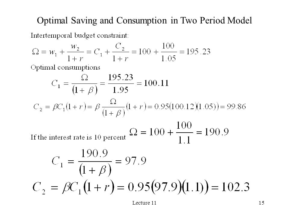Optimal Saving and Consumption in Two Period Model