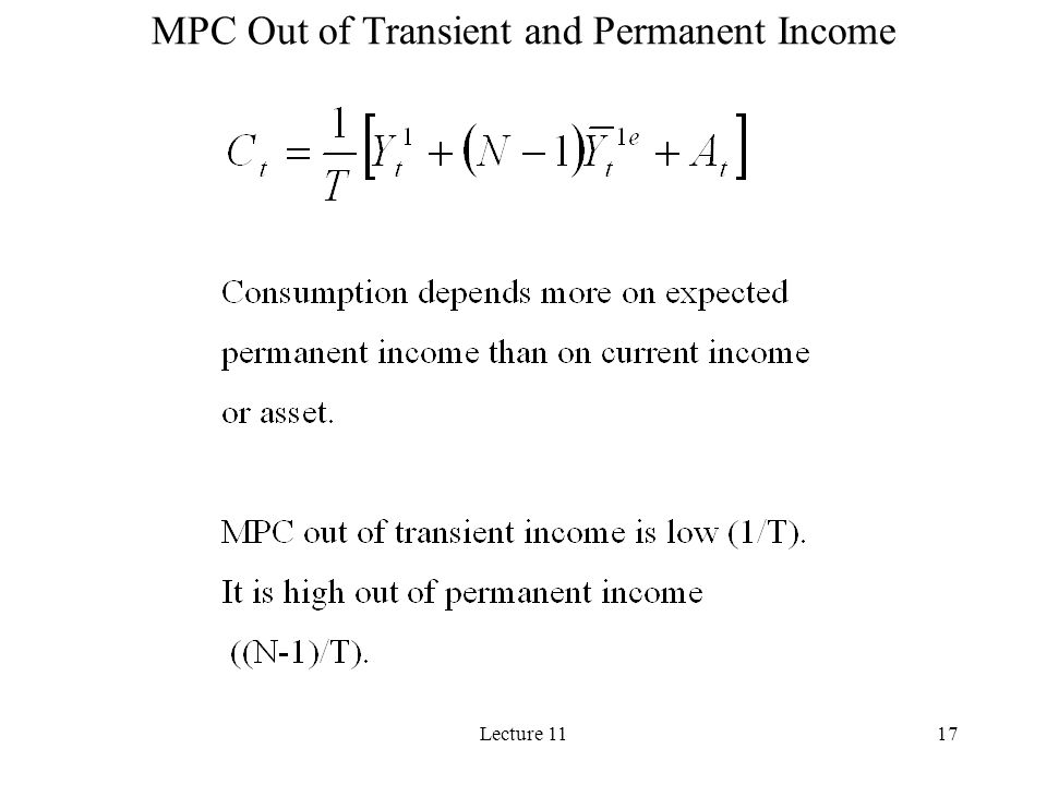 MPC Out of Transient and Permanent Income