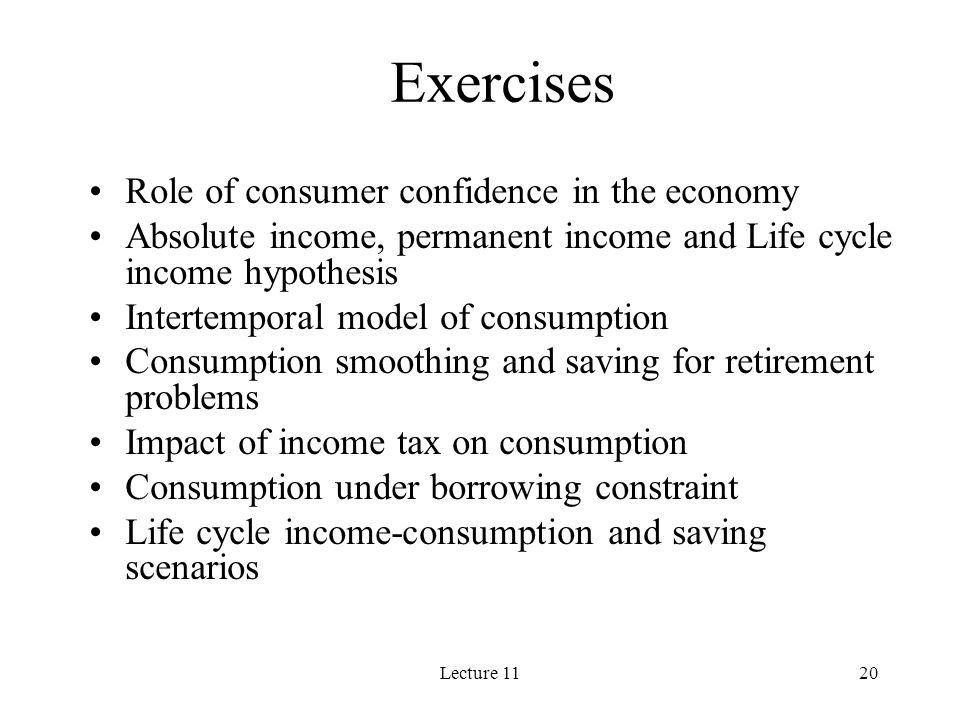 Exercises Role of consumer confidence in the economy