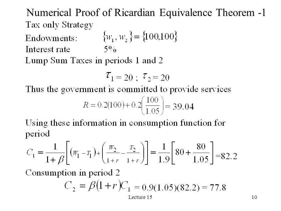 Numerical Proof of Ricardian Equivalence Theorem -1