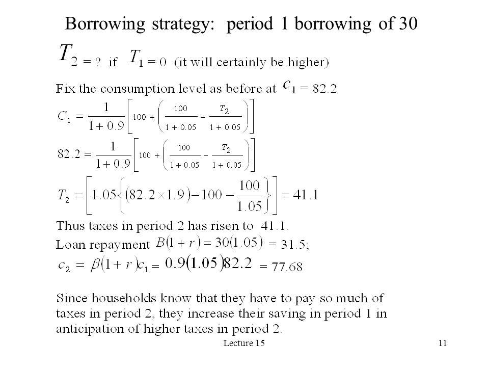 Borrowing strategy: period 1 borrowing of 30