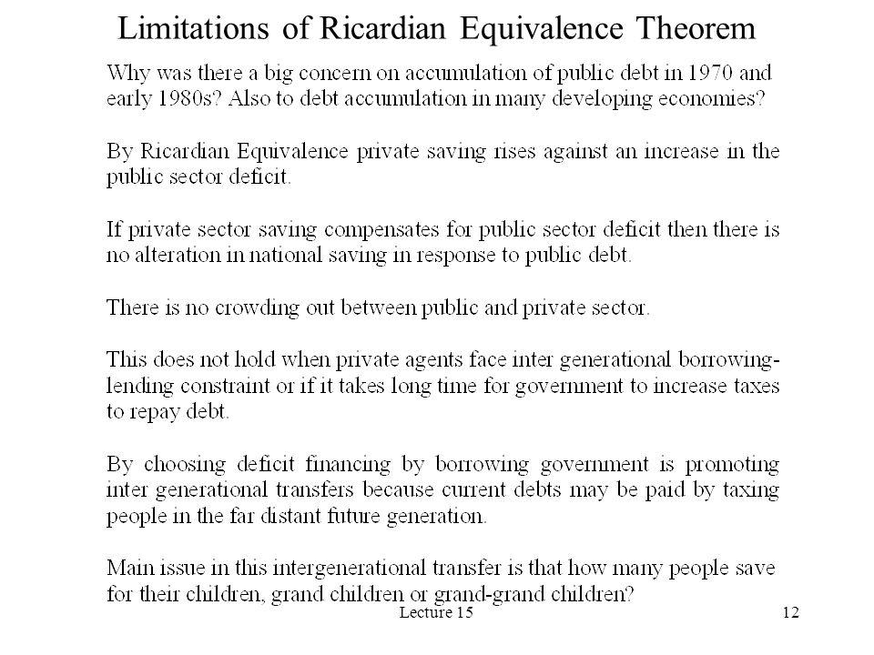 Limitations of Ricardian Equivalence Theorem