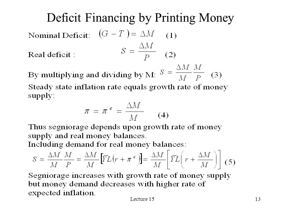 Deficit Financing by Printing Money
