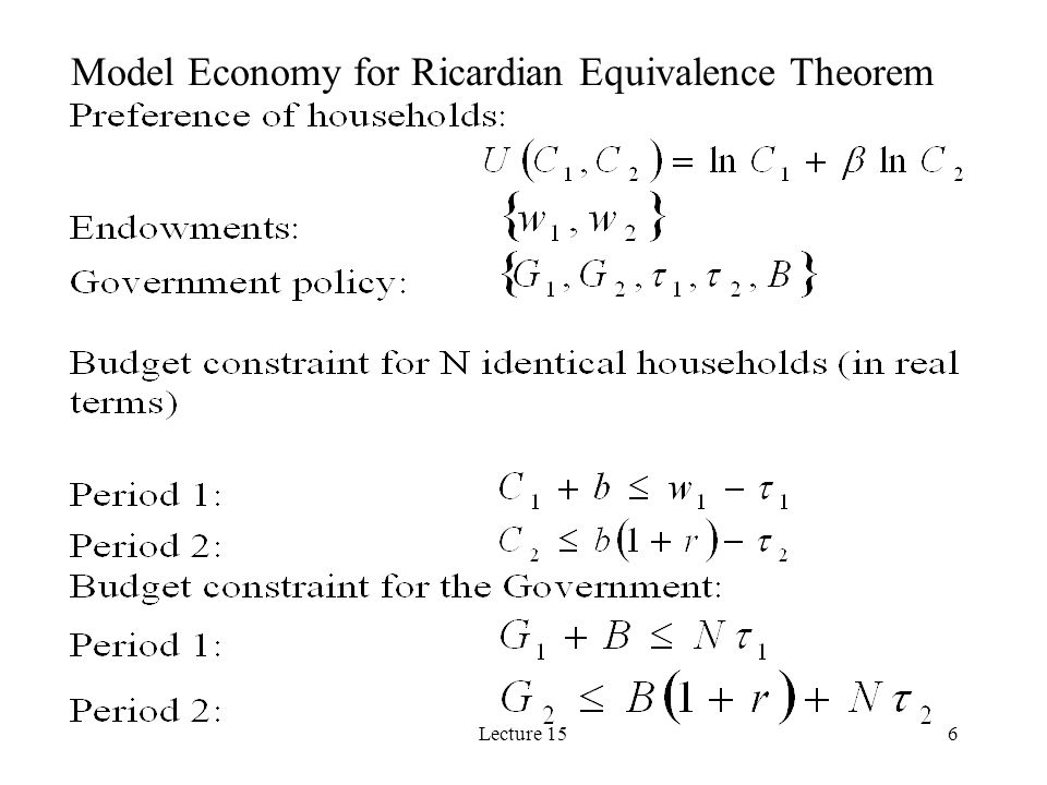 Model Economy for Ricardian Equivalence Theorem