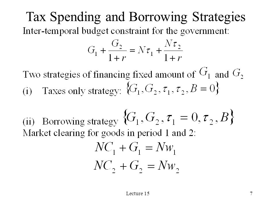 Tax Spending and Borrowing Strategies
