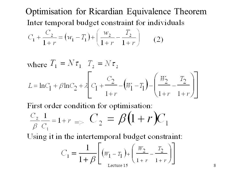 Optimisation for Ricardian Equivalence Theorem