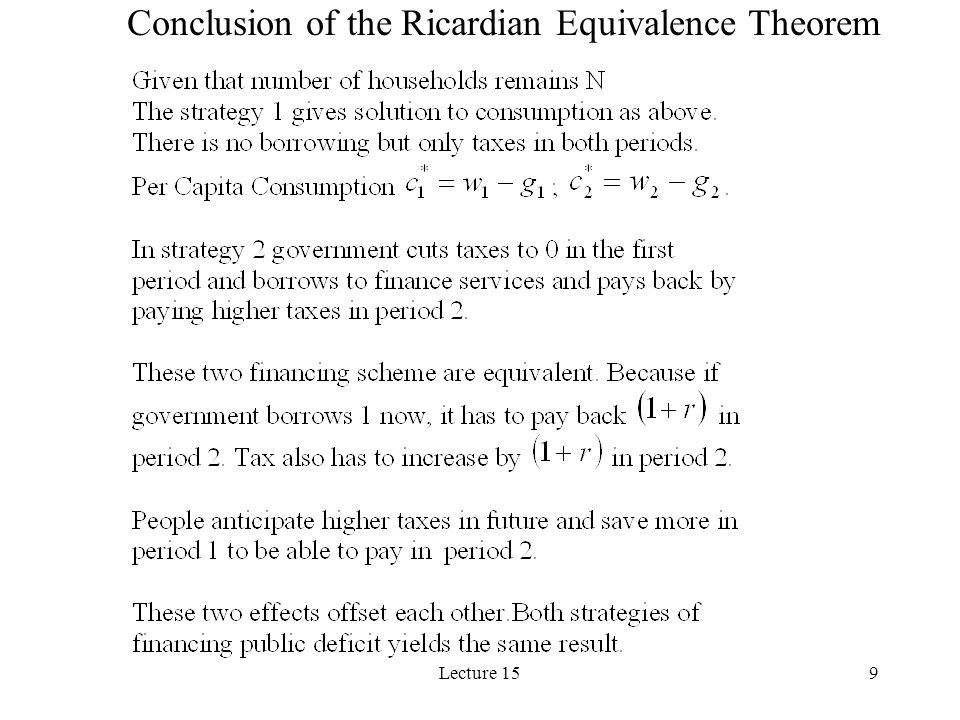 Conclusion of the Ricardian Equivalence Theorem