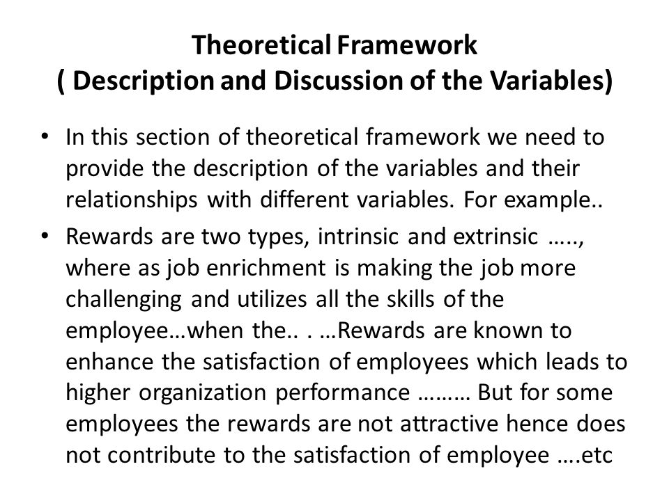 example of theoretical framework Theoretical framework what is the central concept(s) integral to the study (look  within and outside lis) connecting the study to theory: basic research.