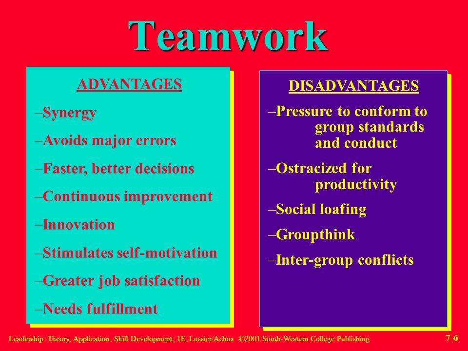 7 teamwork advantages disadvantages synergy - Working On A Team Advantages And Disadvantages