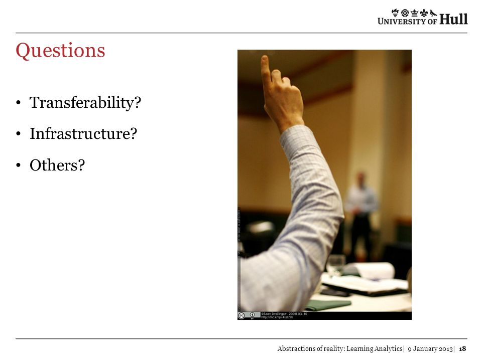 Questions Transferability Infrastructure Others