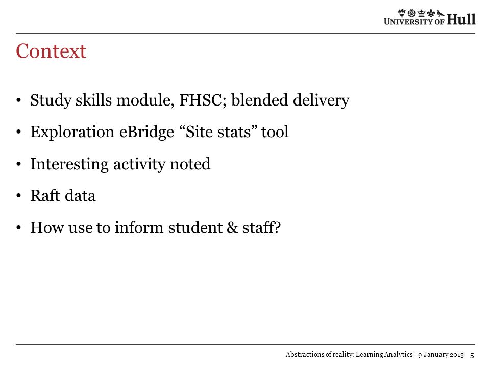 Context Study skills module, FHSC; blended delivery