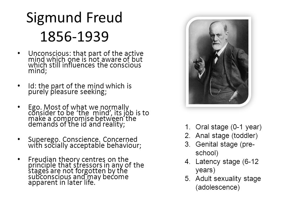 Sigmund Freud 1856-1939 Unconscious: that part of the active mind which one is not aware of but which still influences the conscious mind;