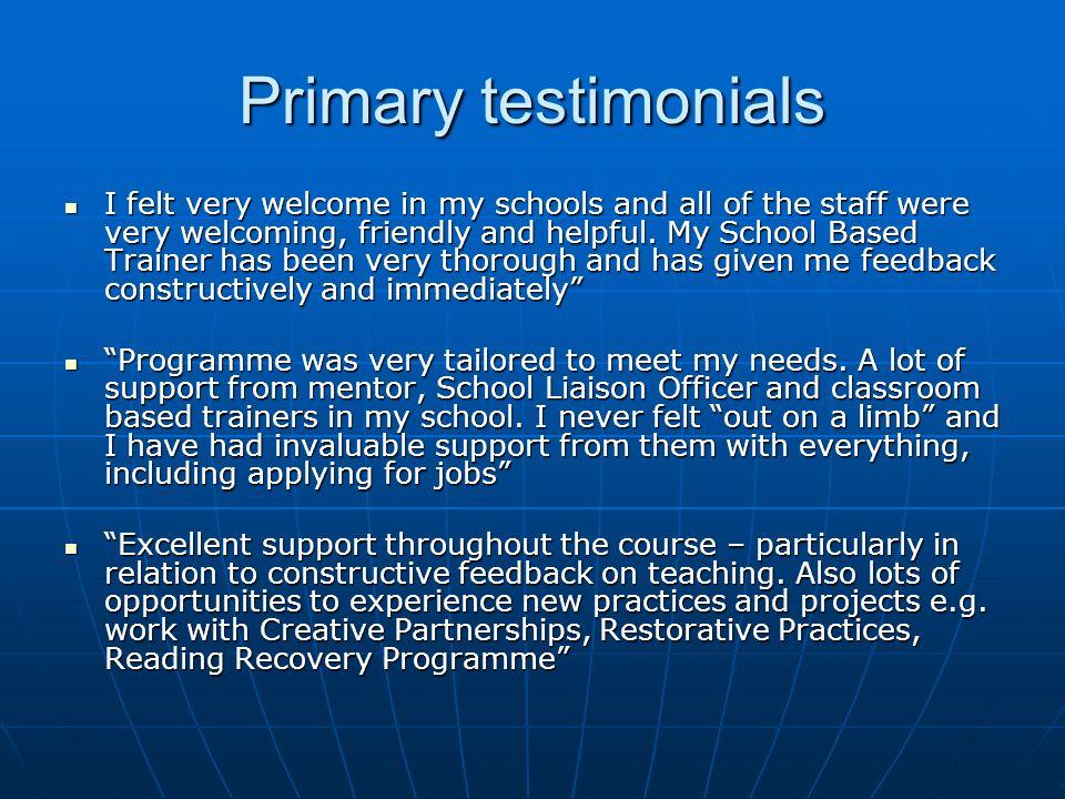 Primary testimonials