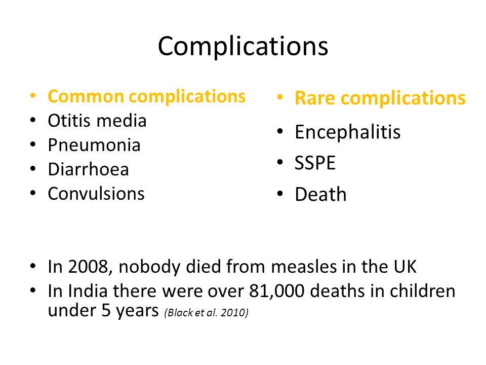 Complications Rare complications Encephalitis SSPE Death