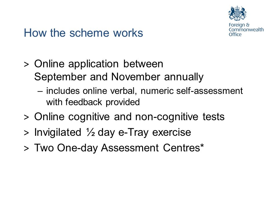 How the scheme worksOnline application between September and November annually.