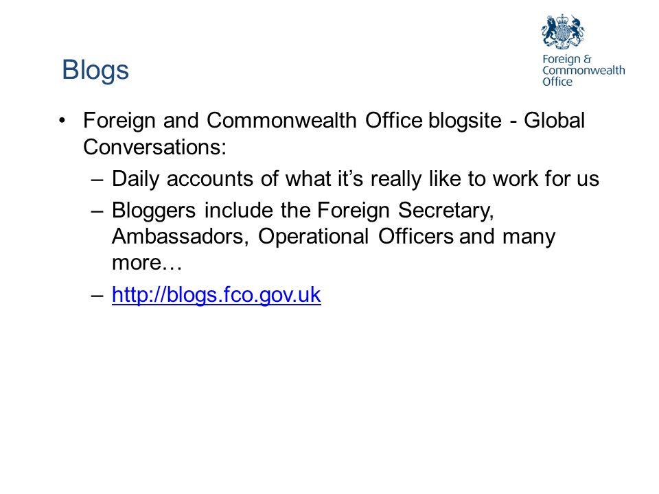 Blogs Foreign and Commonwealth Office blogsite - Global Conversations: