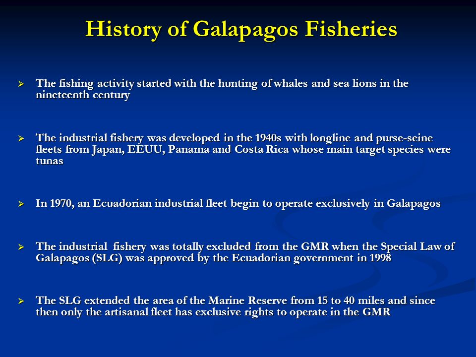 History of Galapagos Fisheries