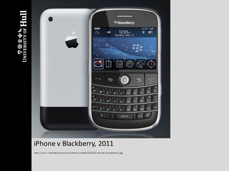 iPhone v Blackberry, 2011 http://www.rimarkable.com/wp-content/uploads/2010/03/iphone-vs-blackberry.jpg.