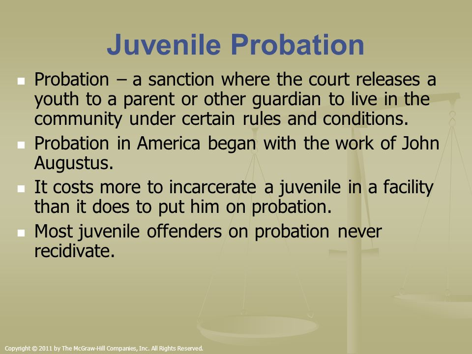 essay on juvenile probation Probation is an alternative sentence to incarceration available in the court system probation officers supervise juvenile and adult criminal offenders in.