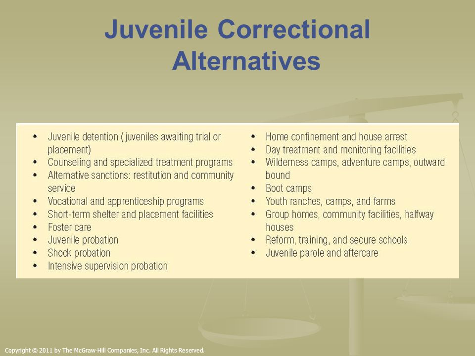 5 goals of juvenile corrections