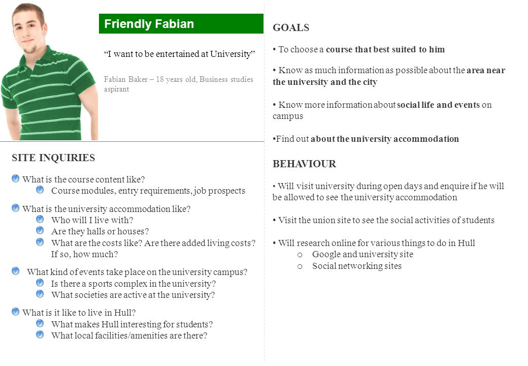 Friendly Fabian GOALS BEHAVIOUR SITE INQUIRIES