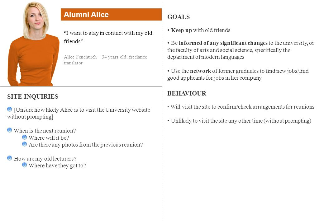 Alumni Alice GOALS BEHAVIOUR SITE INQUIRIES Keep up with old friends