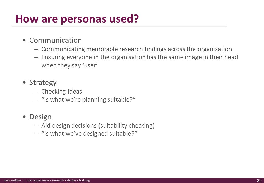 How are personas used Communication Strategy Design
