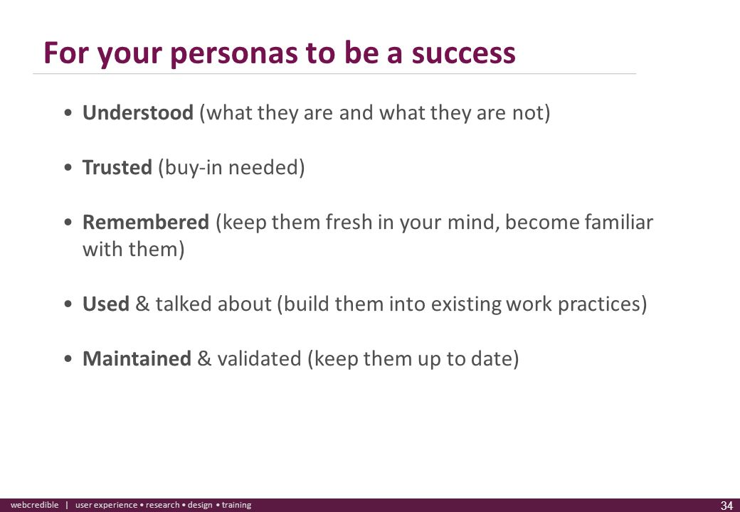 For your personas to be a success