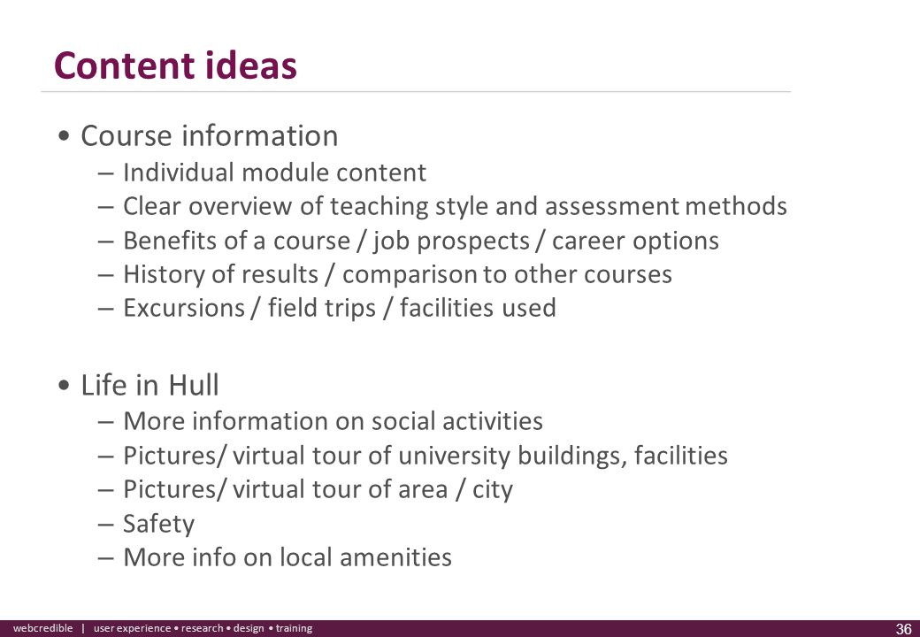 Content ideas Course information Life in Hull