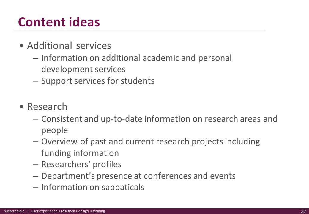 Content ideas Additional services Research