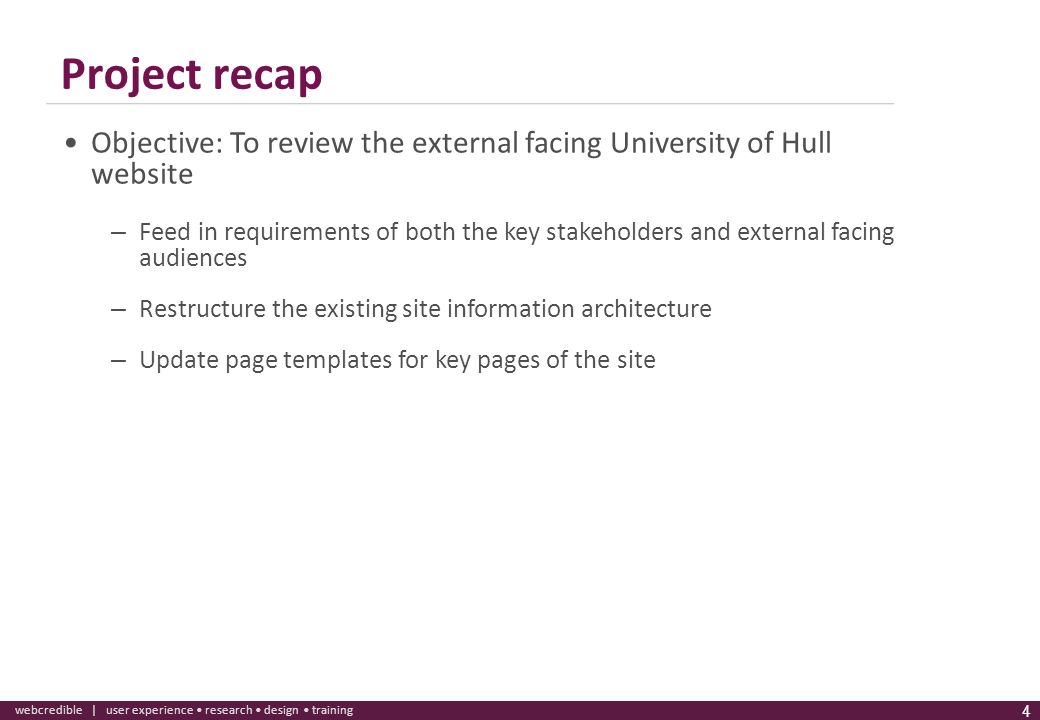 Project recap Objective: To review the external facing University of Hull website.