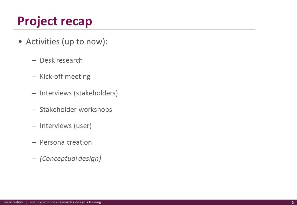 Project recap Activities (up to now): Desk research Kick-off meeting