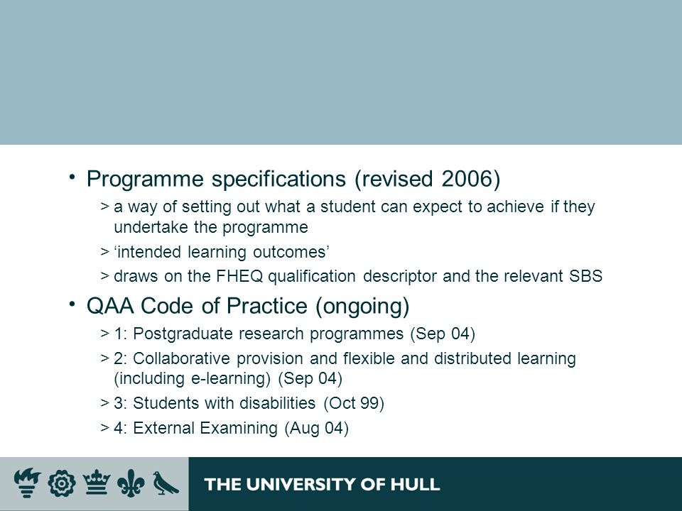 Programme specifications (revised 2006)