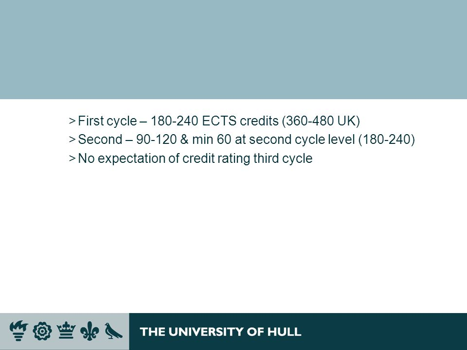 First cycle – 180-240 ECTS credits (360-480 UK)