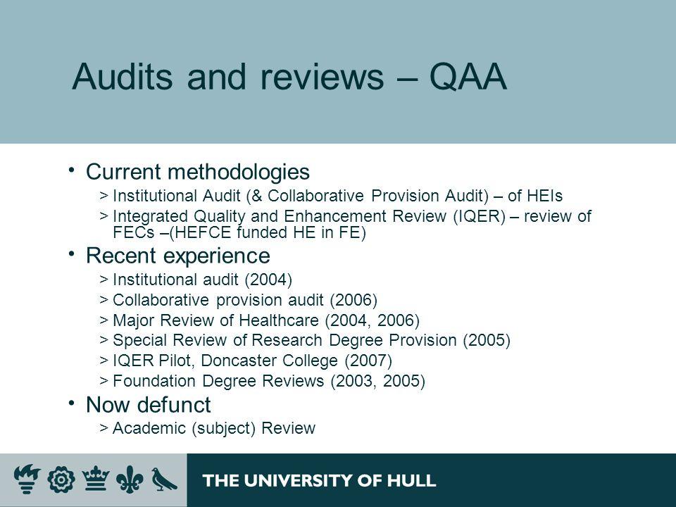 Audits and reviews – QAA