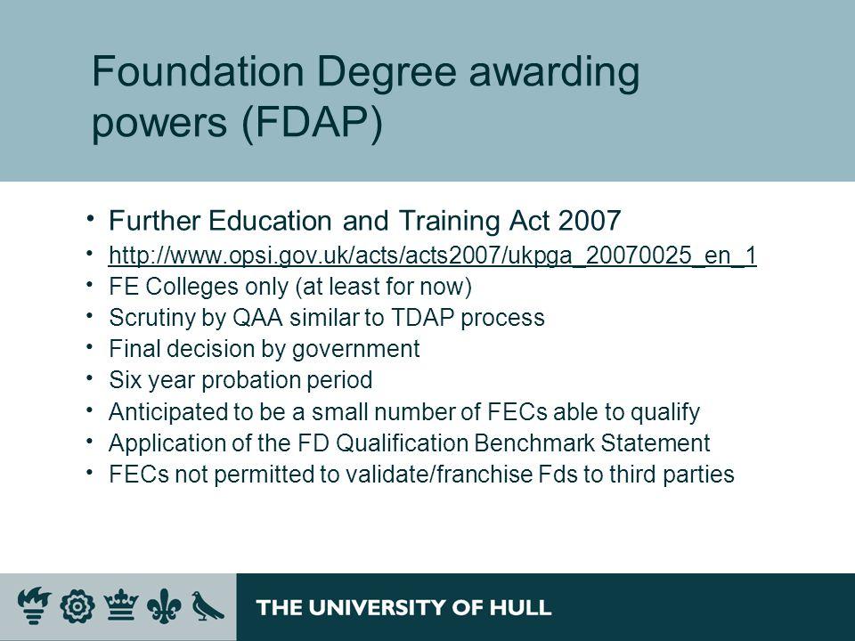 Foundation Degree awarding powers (FDAP)