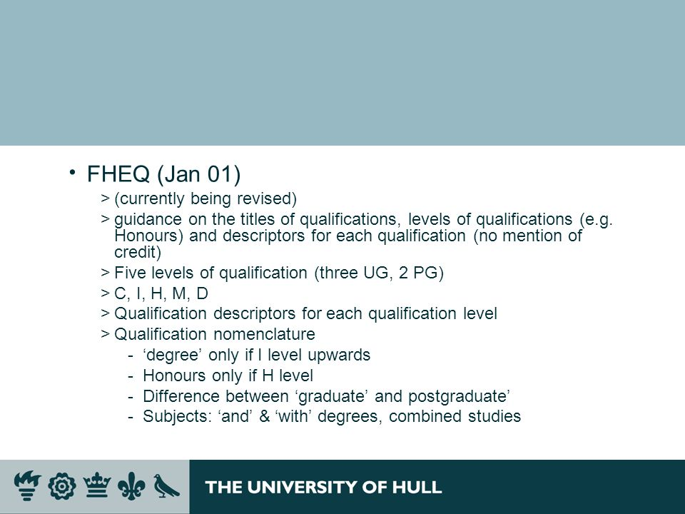 FHEQ (Jan 01) (currently being revised)
