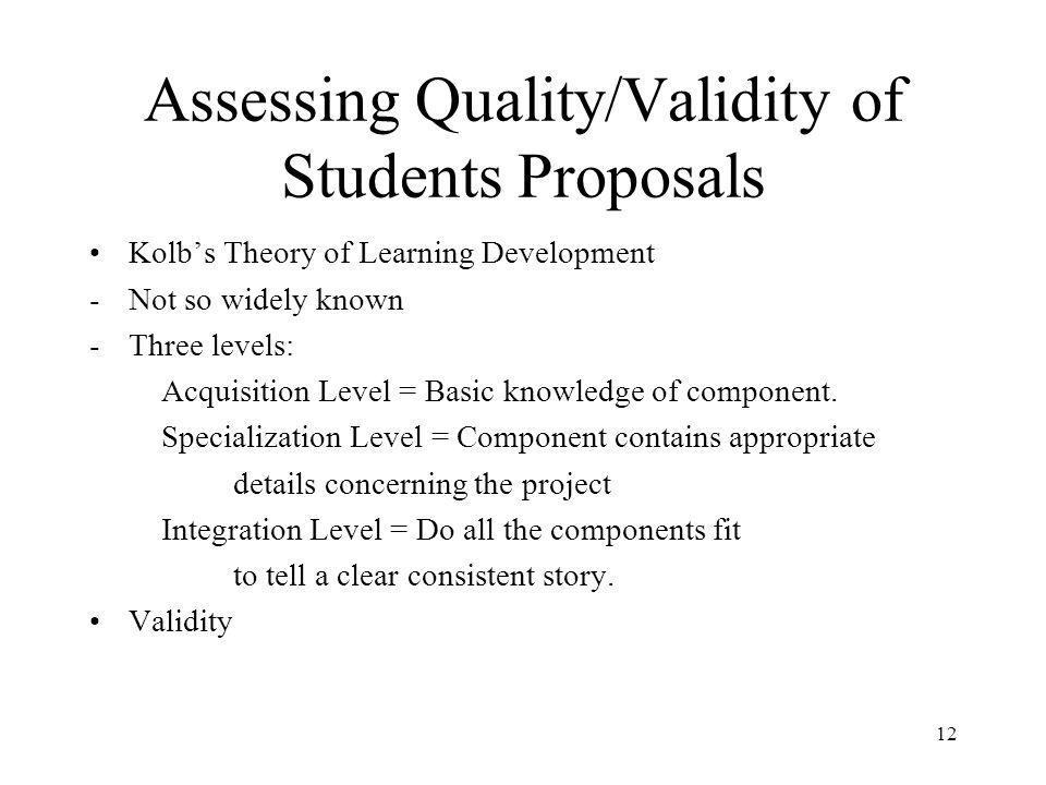 Assessing Quality/Validity of Students Proposals