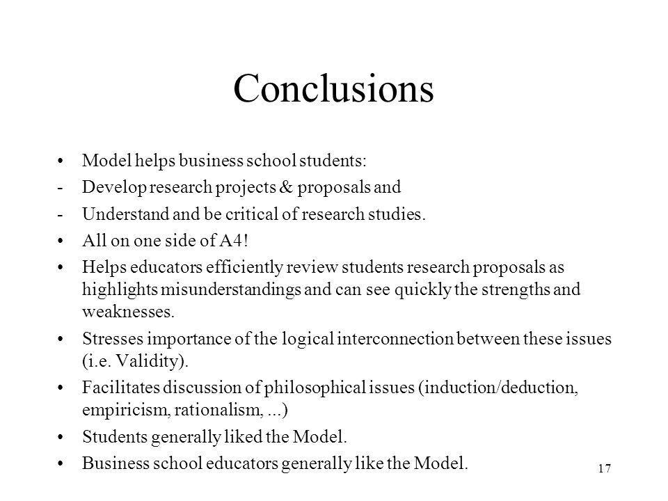 Conclusions Model helps business school students: